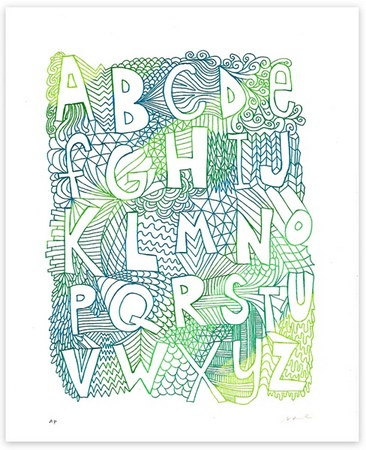 Alphabet: Alphabet Graphics Stuff, Apartments Therapy, Typography Fonts, Nate Duvall, Blue Green, Art Prints, Abc Posters, Drawing, Alphabet Art