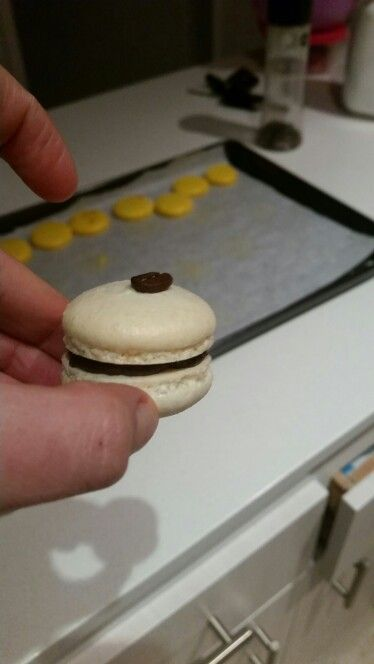 This one almost got away. Coffee macaron made from delux coffee works delicious beans
