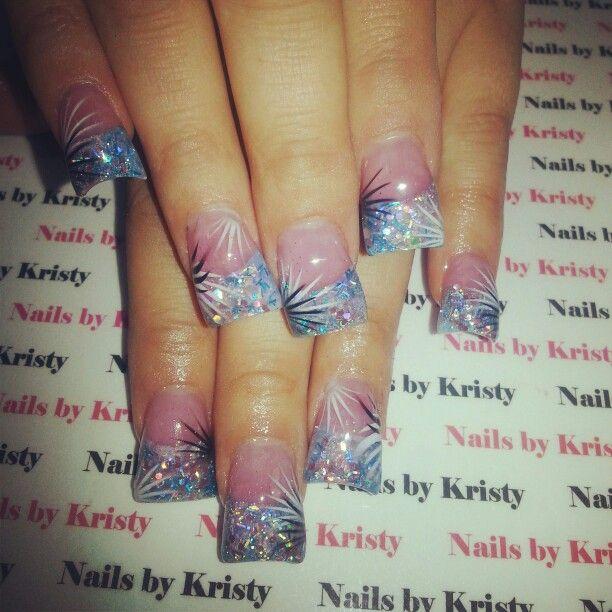 Nails #NailsbyKristy# #pureplatinumsalonandspa acrylic glitter tips wide c cut curved acrylic nails