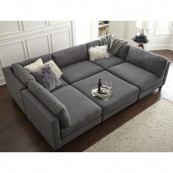 Chelsea 120 Symmetrical Modular Sectional With Ottoman In 2020