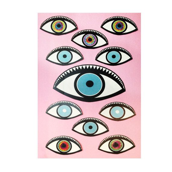 EYES Stickers set  blue eyes  fashion  stickers  by themoonspells