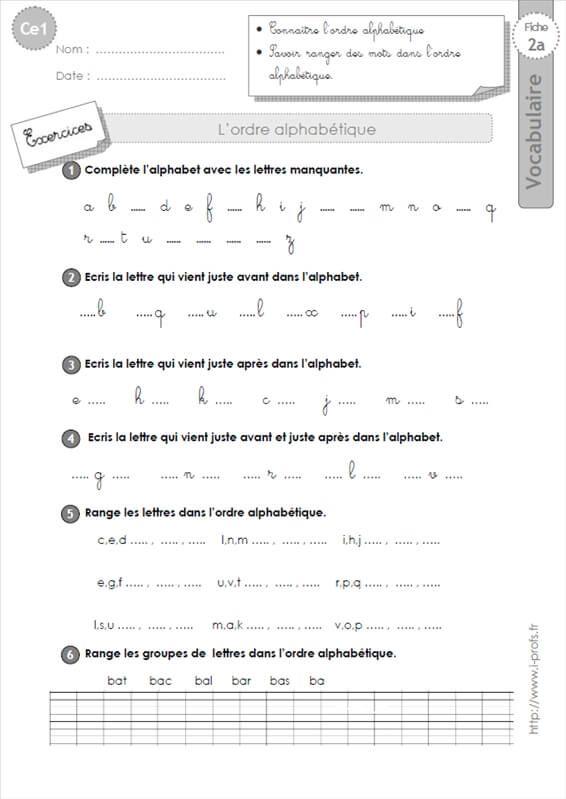 ce1: l'ordre alphabétique VOCABULAIRE | Exercice ce1, Ce1 ...