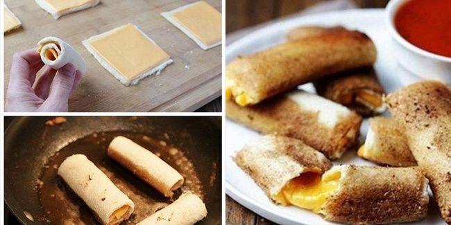 Kreasi cheese stick tanpa harus membuat adonan. Anda bisa menggunakan roti tawar sebagai bahan utamanya.