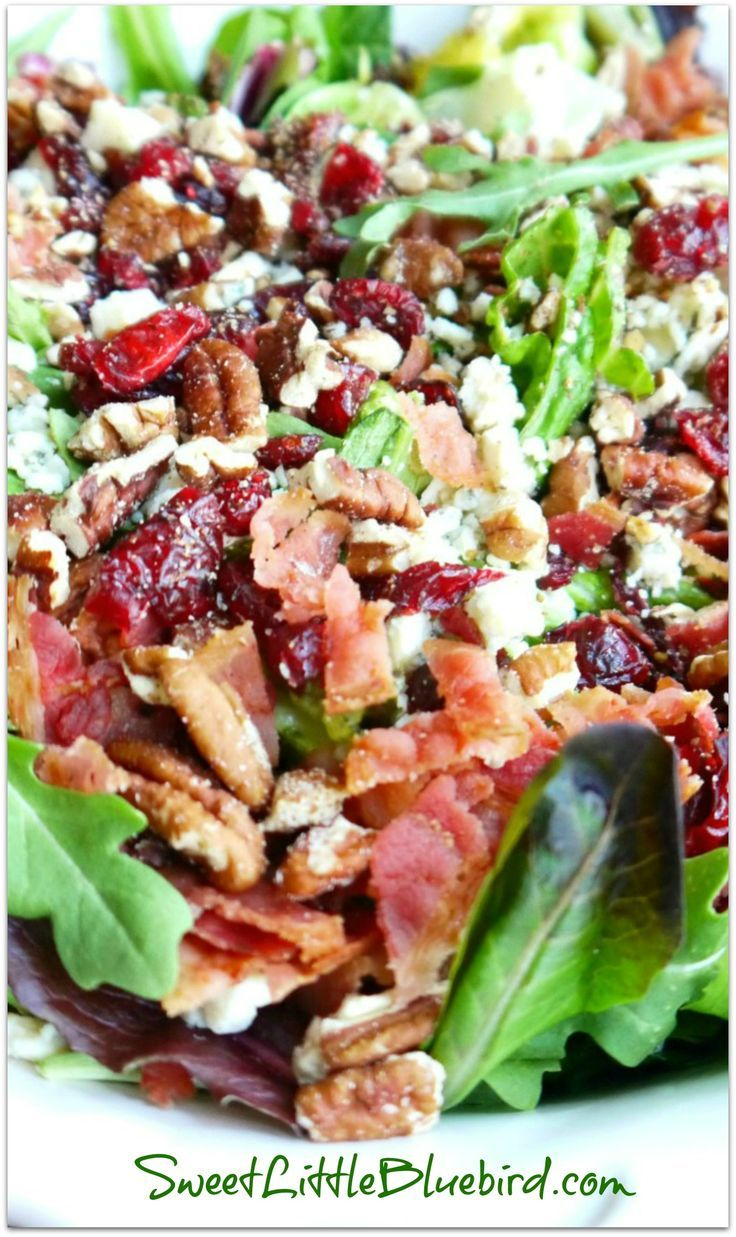 MY #1 MOST REQUESTED SALAD {Made with Gorgonzola, Apple, Dried Cherries, Toasted Pecans and Bacon topped with a Sweet Balsamic Dressing} If you are a fan of the ingredients, you will love this salad and will be going back for seconds...maybe thirds! | SweetLittleBluebird.com