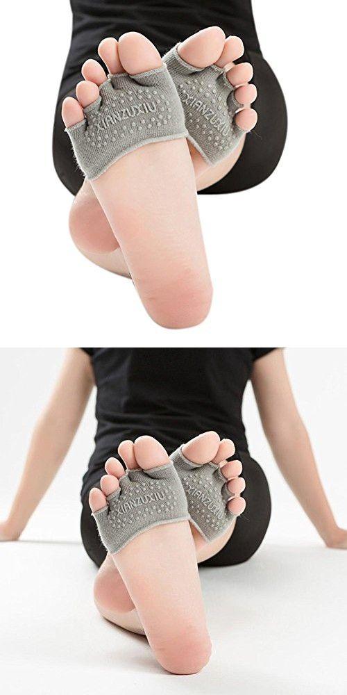 Franterd Yoga Socks - Non Slip Toe Socks - Half Grip Heel Socks For Women