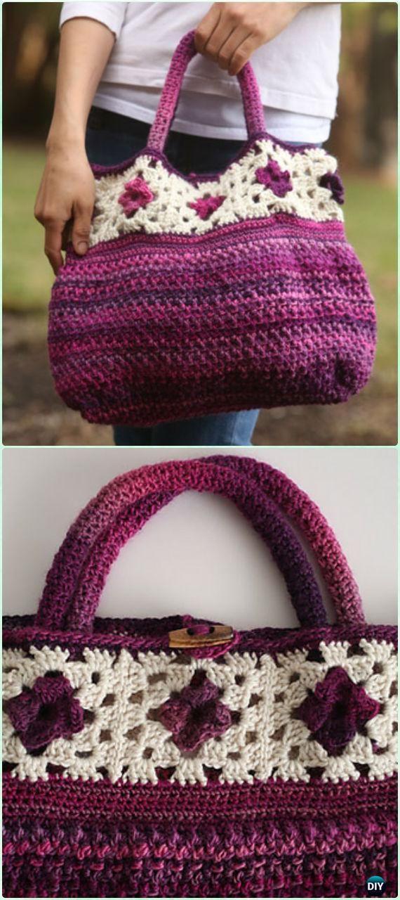 Bolso crochet con granny