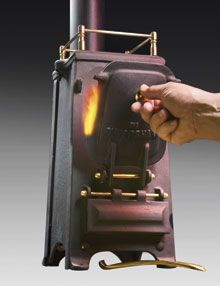 Coal-burning cast iron stove for yachts