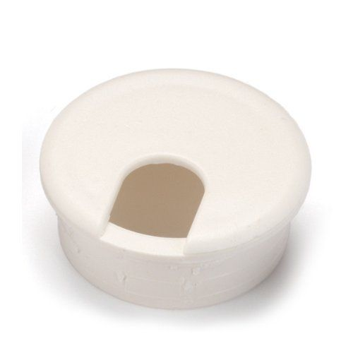 """1-1/2"""" Cable Management Plastic Grommet, White, 1ea by WoodRiver. $3.19. If you are building new or altering old furniture by cutting holes to run cables and cords through, this 1-1/2"""" round white grommet is what you need to help hide those ugly raw edges. Standard two piece plastic grommets are easy to install, simply drill the appropriate size hole and insert the grommet."""