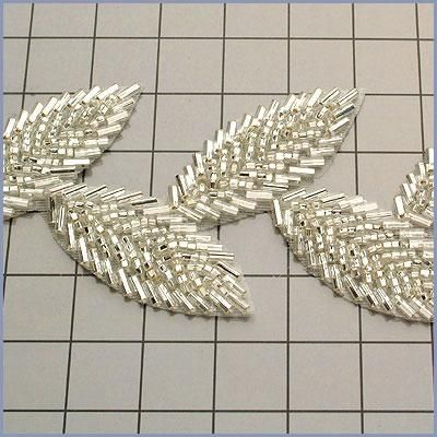 Silver Leaf Trail Beaded Trim      Measures: 2\ at widest point     Price is per yard.