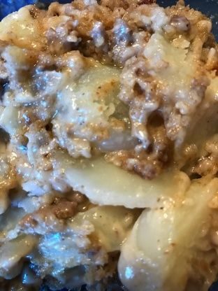This recipe is from Trisha Yearwoods cookbook and she has made it on her show. It is her moms recipe. The casserole has mild flavor since it is from long ago so if you require a lot of seasoning kick it up a notch in your own way. It is a rich casserole with potatoes and ground beef. Perfect to whip up for a meat and potatoes guy, a cold nights dinner or anytime you want a throwback to an easier time. Kids and adults enjoy it. The hardest part is peeling all the potatoes but other than that…