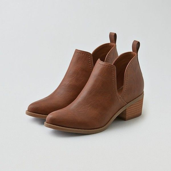 AE Cutout Ankle Bootie ($60) ❤ liked on Polyvore featuring shoes, boots, ankle booties, short boots, brown bootie, pull on ankle boots, cut-out booties and brown booties