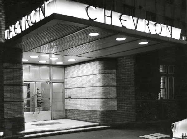 Front entrance of the Chevron Hotel, Melbourne, Victoria, 1953. Photo: Wolfgang Sievers (St. Kilda Rd, Melbourne Australia)