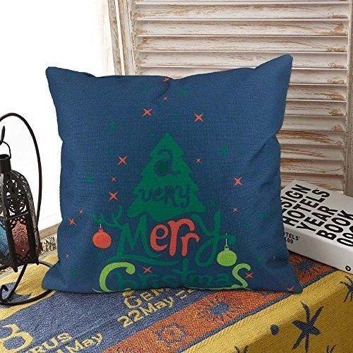 "Christmas Cushion Cover 18"" Lovely Cotton Linen Tree Design Xmas Case Blue #easy_shopping08"