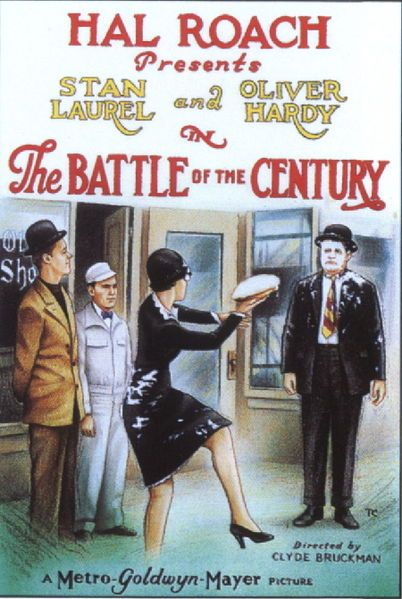 Though The Battle of the Century is an official 1927 Laurel and Hardy entry, the team had yet to take on their recognisable characters. A young Lou Costello can be seen in an early scene as a member of the audience at the prize-fight mentioned in the film's title.