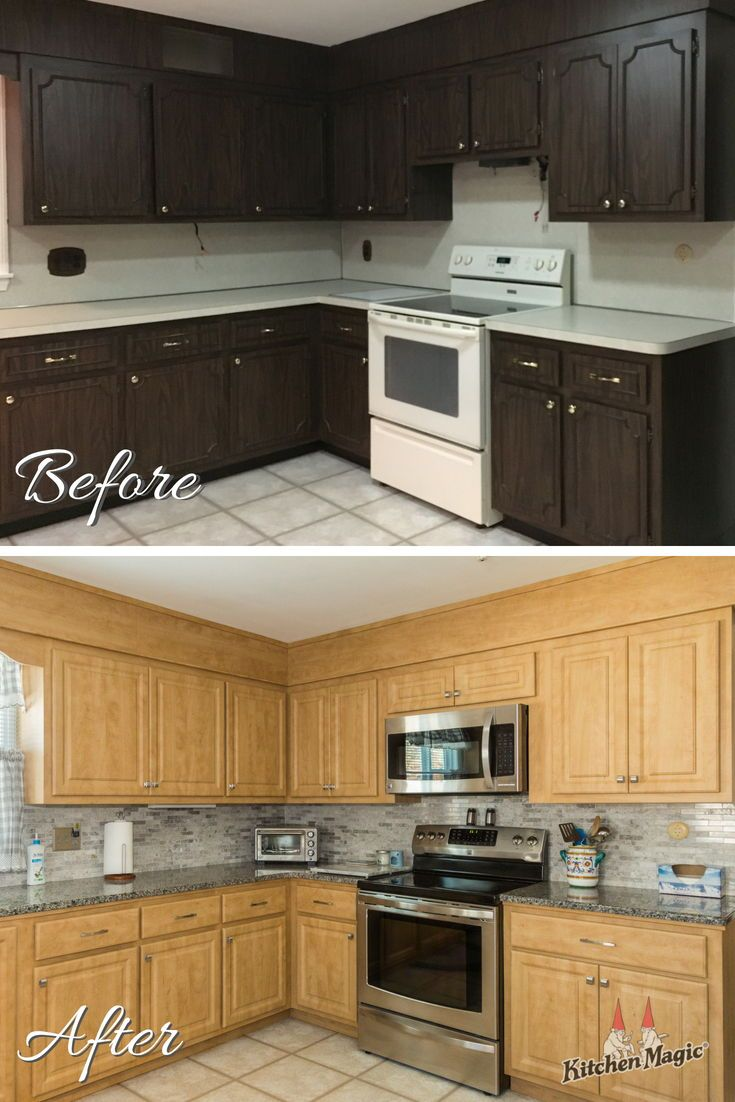 This Kitchen S Cabinets Were Refaced With Countertops And Backsplash Replaced Fo Refacing Kitchen Cabinets Kitchen Cabinets Before And After Kitchen Refacing