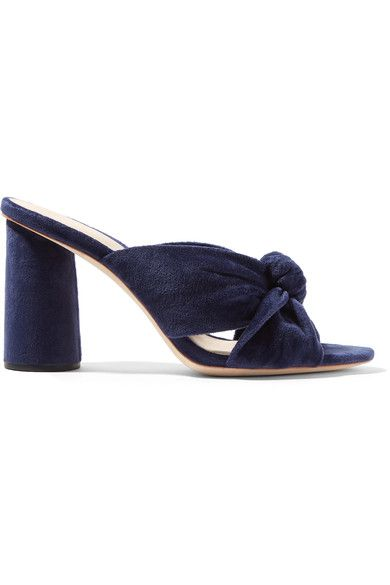 Reese Witherspoon, Jessica Alba and Emma Roberts are all fans of Loeffler Randall's chic shoes. Crafted from soft velvet, these 'Coco' mules have sturdy block heels and knotted crossover straps. The midnight-blue hue isn't just for fall – wear this pair now with white pants and midi skirts.