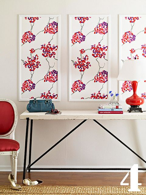 Frame fabric or wallpaper that you love (especially practical for renters!) and mount to the wall for a bit of pattern and color
