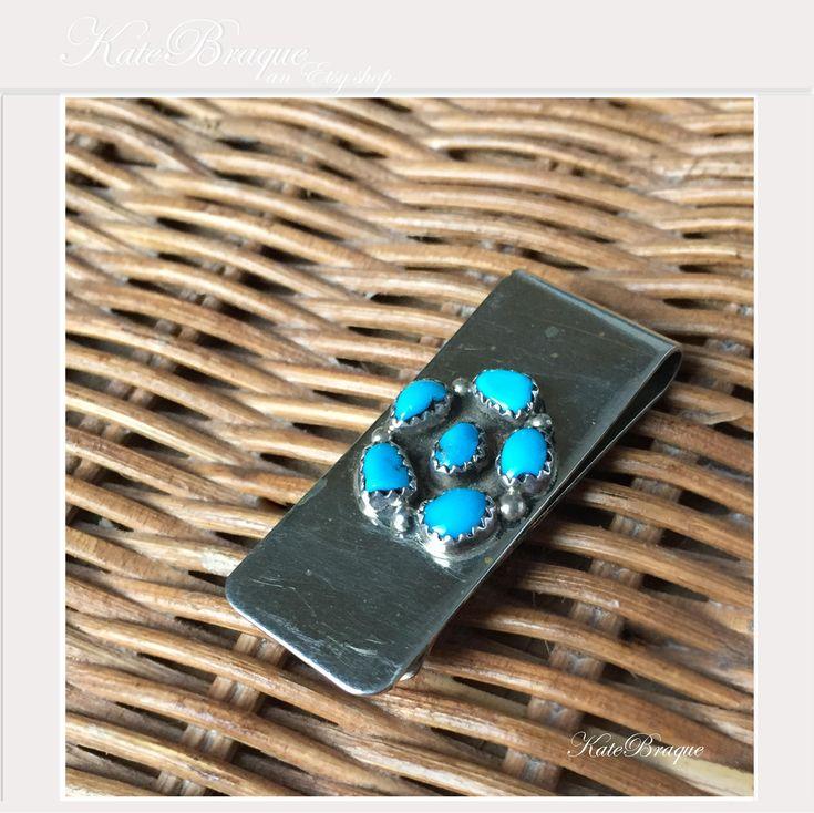 Native American Navajo Turquoise Silver Money Clip www.etsy.com/shop/KateBraque #NativeAmerican #turquoise #Navajo #money #organic #vintage #vintagesilver #silver #silverj  #tattoo  by KateBraque