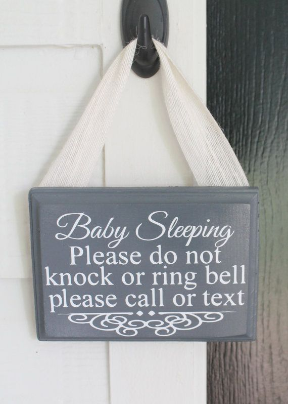 Baby Sleeping Sign, please call or text, baby sleeping front door sign, do not disturb, shhh baby sleeping, do not knock, do not ring bell