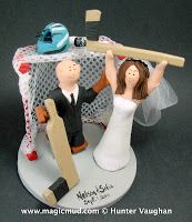 video - hockey bride wedding cake topper by  http://www.magicmud.com 1 800 231 9814  Matrimonial Face-off on centre ice!!... and its a win win!!... this bride and groom are deeply in love....even if they may happen to support different hockey teams!  ... if you are a NHL diehard fan, a connoisseur of the world of hockey $235 #hockey#NHL#wedding #cake #toppers  #custom #personalized #Groom #bride #anniversary #birthday#wedding_cake_toppers#cake_toppers#figurine#gift