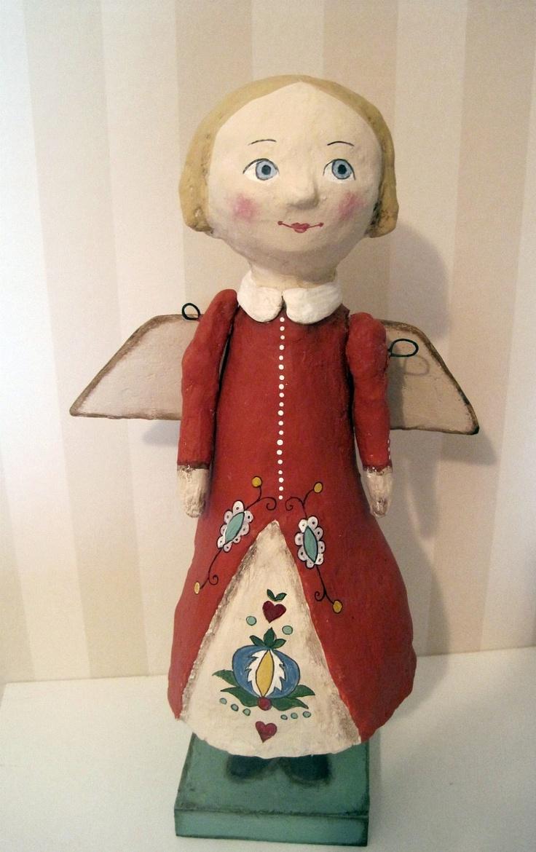 Guardian Angel art doll papier mache OOAK doll by Joannabolton