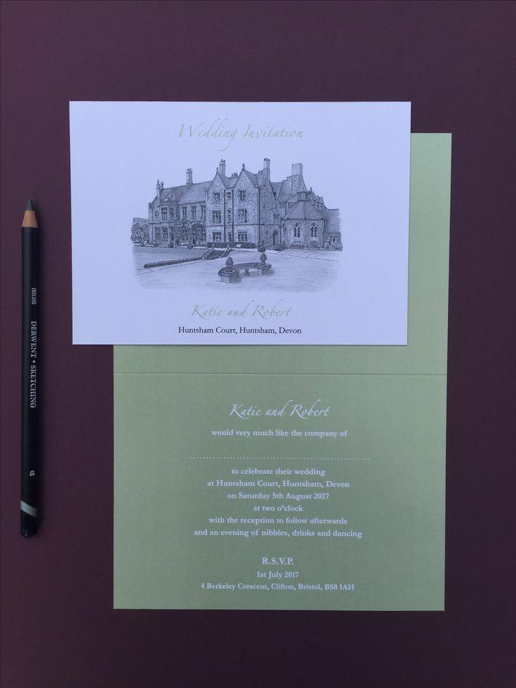 sample wedding invitation letter for uk visa%0A INVITATION  A sample of an invitation from our illustrated wedding  stationery range featuring the amazing venue of Huntsham Court  Huntsham   Devon  UK
