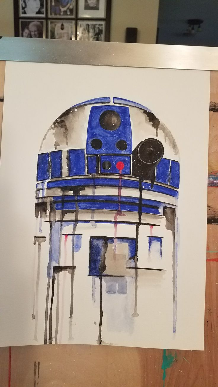 Star Wars R2D2 robot watercolor painting.