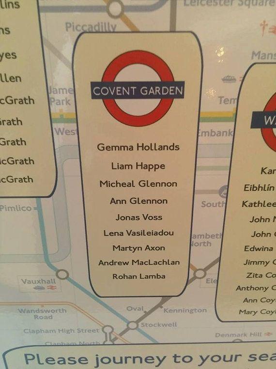 London Underground Wedding Table Plan by ZarasWeddingShop on Etsy
