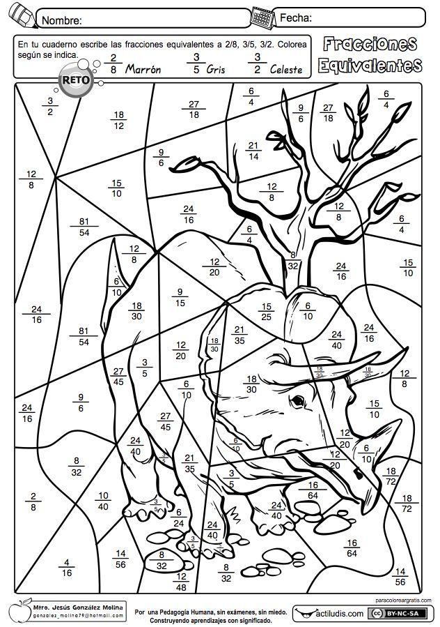 Fracciones equivalentes 02 | matemáticamente | Pinterest | Math ...