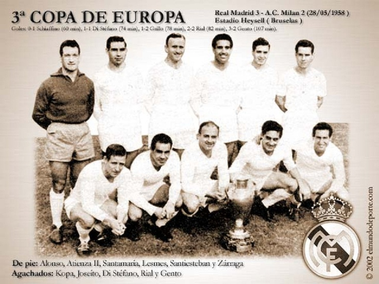 La Coupe des clubs champions européens 1958-1959 le Réal Madrid a remporté son Troisième titre consécutif,en battant en finale l A C Milan 3-2 au Stade du Heysel, BruxellesStade
