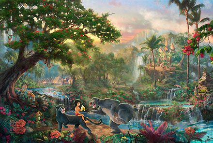 The Jungle Book - Thomas Kinkade - World-Wide-Art.com - $225.00 #Disney #Kinkade