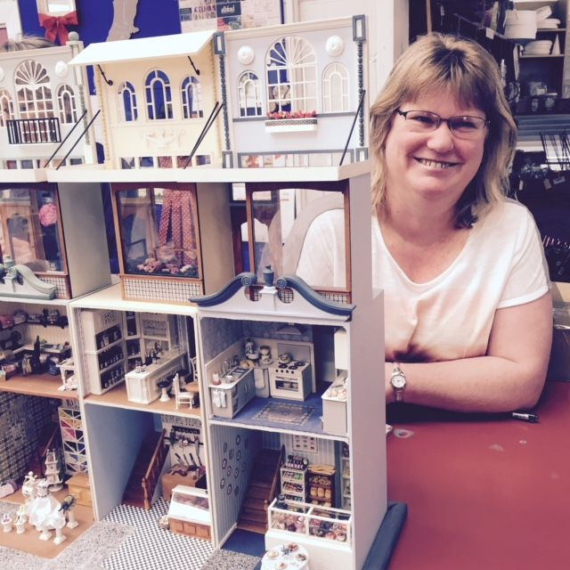 Amazing Dolls House made by Rachel Keenan over 6 months, it shows the interiors of New Regent Street shops and dwellings. Rachel buys lots of her itty-bitty decorations from Hands: beads, fimo, ribbons, threads, fabrics etc #hands #handscraftstore #dollshouse #miniatures
