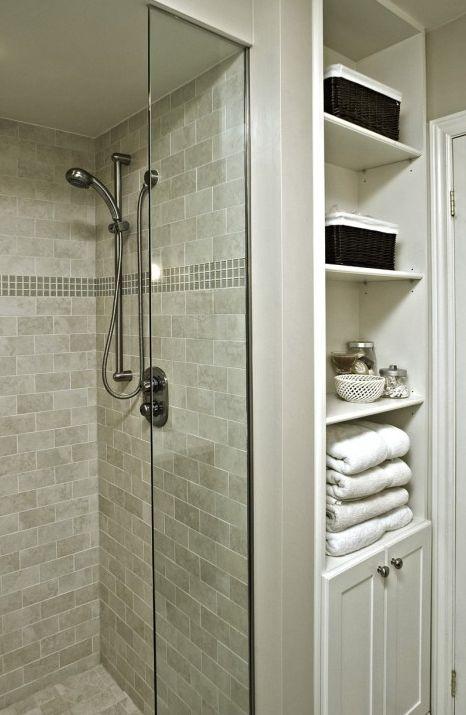 updated bathroom linen closet, exposed shelves