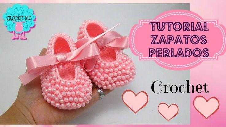 Zapatos perlados para bebé a crochet- todas las tallas