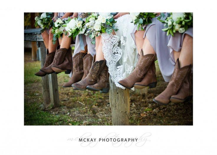 Wedding - bridesmaids wearing cowboys boots!  At Belgenny Farm in Camden  #belgennyfarm #boots #cowboyboots #belgennyfarmwedding #wedding