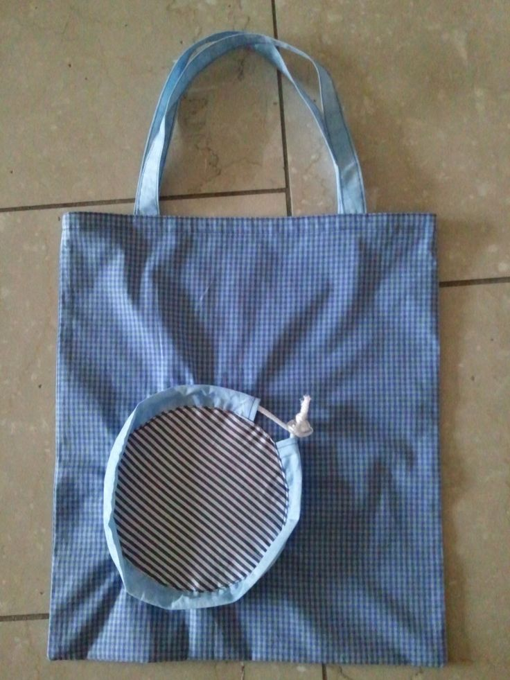 Einkaufstasche, zieht man an der Schnur, zieht sich die kleine runde Tasche zusa…