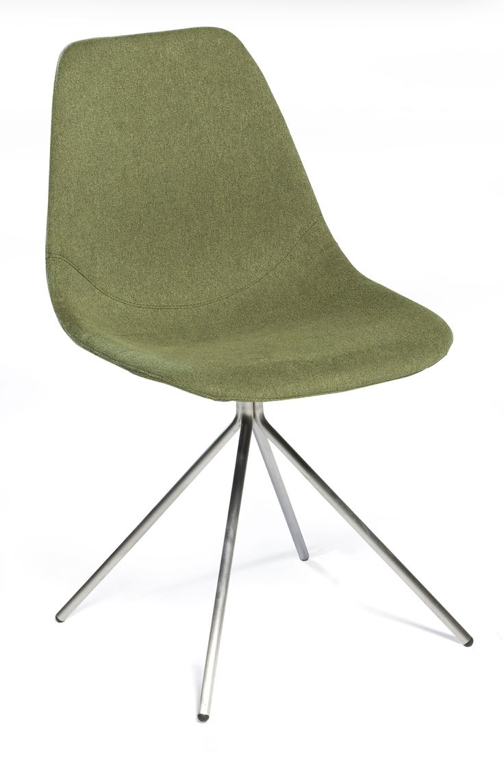 SPIDER Chair with green fabric and stainless steel legs