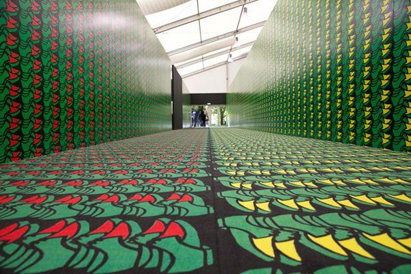 Entryway of London's Frieze Art Fair based on works of German pop artist Thomas Bayrle