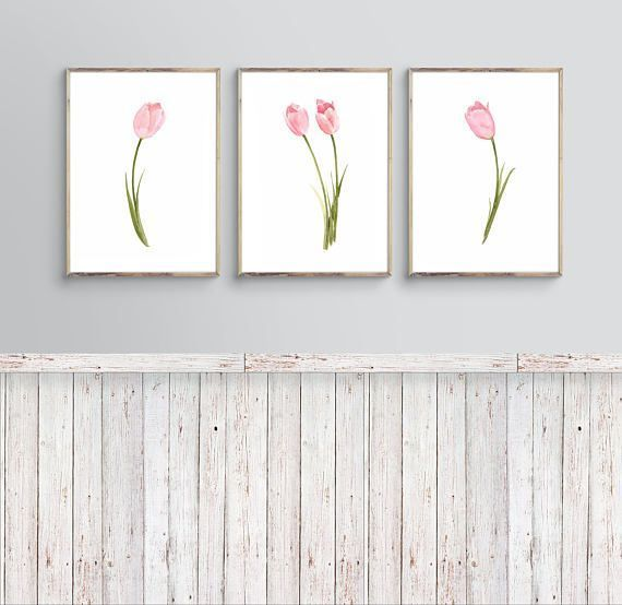 Tulip Flower Art Watercolor Art Paint Tulip Art Decor by LadyWatercolor | Etsy #pink #tulip #watercolor #art #picture #poster #art #prints #plant #flower #floral #paint #decor