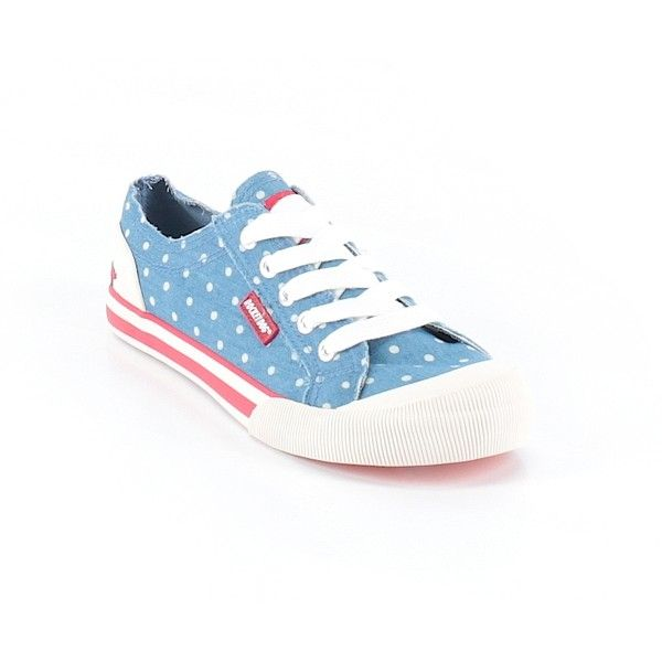 Pre-owned Candy Rocket Sneakers ($40) ❤ liked on Polyvore featuring shoes, sneakers, blue, pre owned shoes, blue sneakers, blue shoes and blue trainers