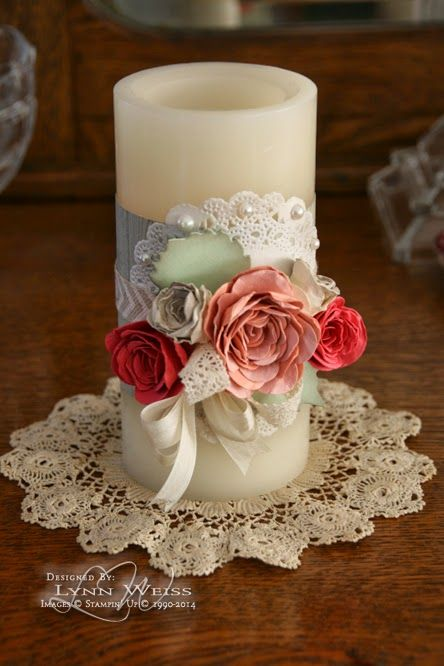 LW Designs: Vintage Rose Candle Wrap - Idea for wedding decorations or unity candle ceremony.