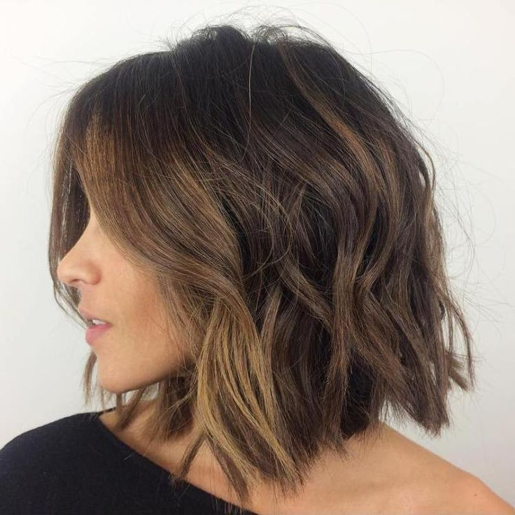 collarbone messy wavy bob for thick hair                                                                                                                                                      More