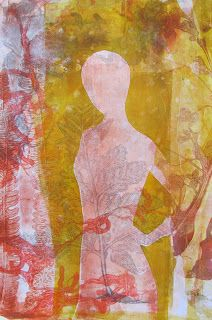 life as a five ring circus - Dorit Elisha Great example of layering transparent colors while gelli printing!