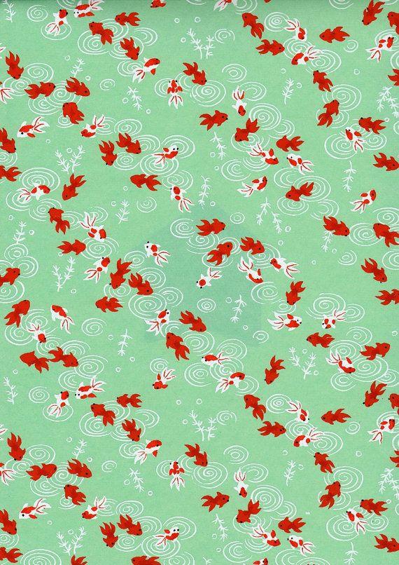 Green Goldfish Japanese Yuzen Chiyogami Washi Paper by mosaicmouse, $2.00