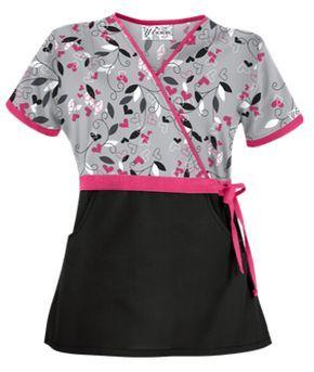 UA Nature's Heart Silver Mock Wrap Scrub Top Style # UA28NHS  #uniformadvantage #uascrubs #adayinscrubs #scrubs #printscrubs #scrubtop