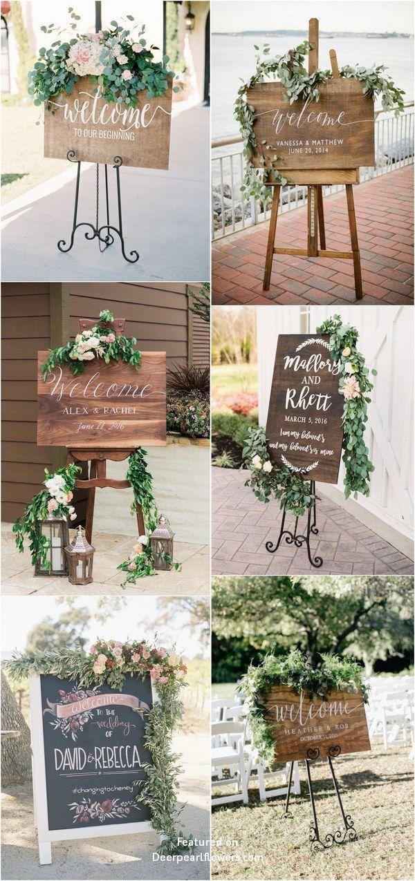 20 signes de mariage bienvenus en bois rustique de verdure – Wedding Signs