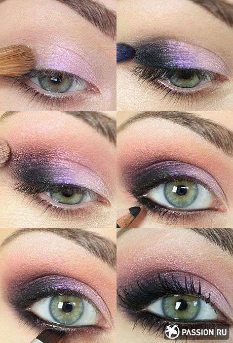 Really easy smokey eyes with purples which looks great on all eye colors, but also especially green.