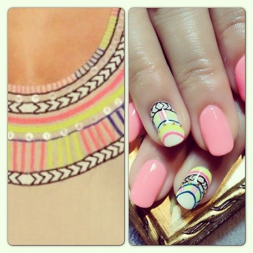 ERIKOのネイル☆マラ・ホフマンのコレクションから☆ネオンアフリカン #nails #nailart #cool  (RUSCIA)
