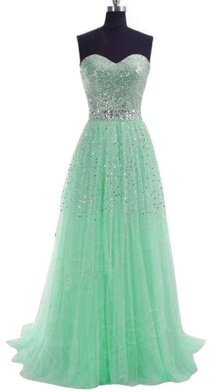 Long Sequins Prom Formal Evening Dress