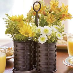 Nothing is cheerier than bright yellow flowers! Great idea for a kitchen table centrepiece or on a kitchen island.